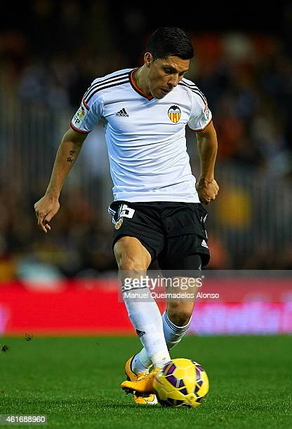 Enzo Perez of Valencia in action during the La Liga match between Valencia CF and UD Almeria at Estadi de Mestalla on January 17 2015 in Valencia...