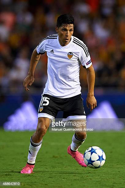 Enzo Perez of Valencia in action during the UEFA Champions League Group H match between Valencia CF and FC Zenit at the Estadi de Mestalla on...