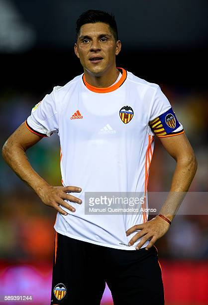 Enzo Perez of Valencia looks on after the preseason friendly match between Valencia CF and AC Fiorentina at Estadio Mestalla on August 13 2016 in...