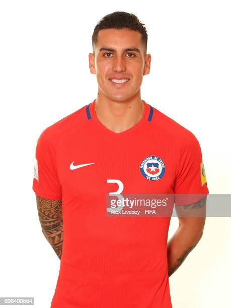 Enzo Roco of Chile during a portrait session ahead of the FIFA Confederations Cup Russia 2017 at the Crowne Plaza Hotel on June 15 2017 in Moscow...