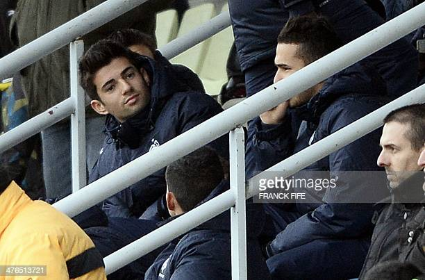 Enzo Zidane the 18yearold son of French legend Zinedine Zidane who plays in the youth team of Real Madrid sits in the stands during a training...