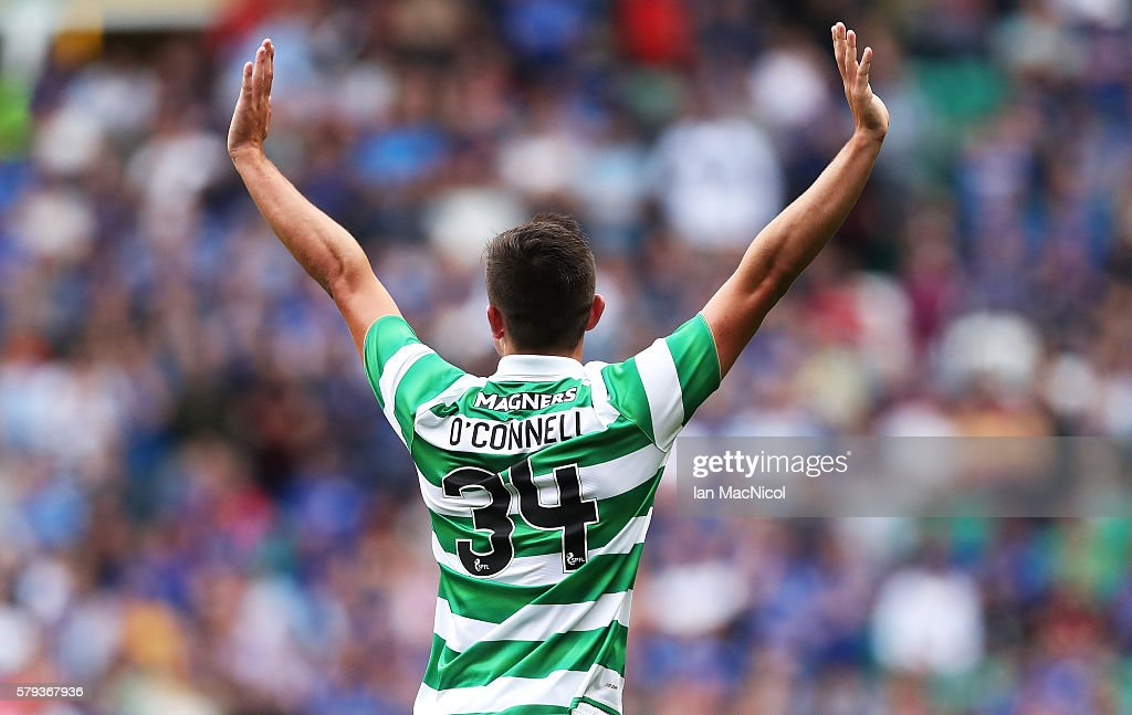 Eoghan O'Connell of Celtic celebrates after he scores during the Pre Season Friendly match between Celtic and Leicester City at Celtic Park Stadium...