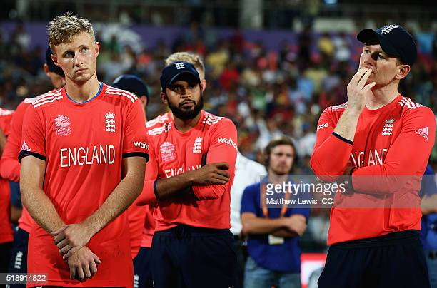 Eoin Morgan Captain of England and Joe Root look on after his teams defeat to West Indies during the ICC World Twenty20 India 2016 Final between...