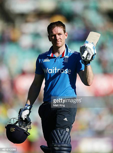 Eoin Morgan of England acknowledges the crowd after being dismissed during the One Day International series match between Australia and England at...