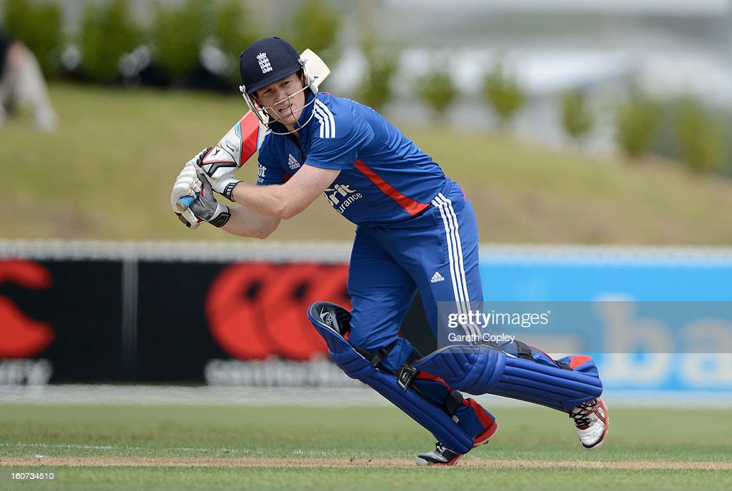 Eoin Morgan of England bats during a T20 Practice Match between New Zealand XI and England at Cobham Oval on February 5, 2013 in Whangarei, New Zealand.