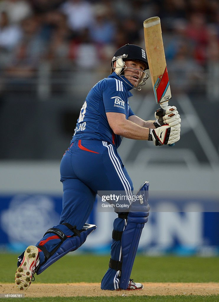 <a gi-track='captionPersonalityLinkClicked' href=/galleries/search?phrase=Eoin+Morgan&family=editorial&specificpeople=689581 ng-click='$event.stopPropagation()'>Eoin Morgan</a> of England bats during the 1st T20 International between New Zealand and England at Eden Park on February 9, 2013 in Auckland, New Zealand.