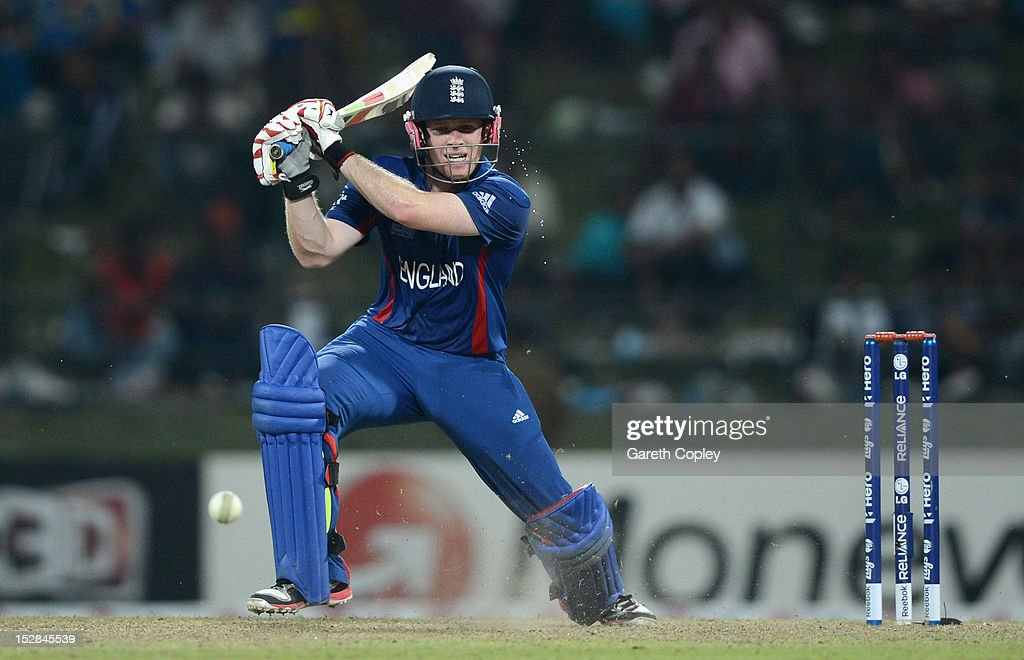 <a gi-track='captionPersonalityLinkClicked' href=/galleries/search?phrase=Eoin+Morgan&family=editorial&specificpeople=689581 ng-click='$event.stopPropagation()'>Eoin Morgan</a> of England bats during the ICC World Twenty20 2012 Super Eights Group 1 match between England and the West Indies at Pallekele Cricket Stadium on September 27, 2012 in Kandy, Sri Lanka.