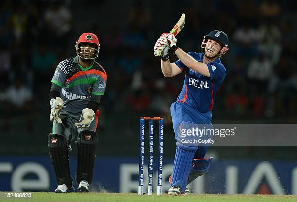 Eoin Morgan of England bats watched by Afghanistan wicketkeeper Mohammad Shahzad during the ICC World Twenty20 2012 Group A match between England and...