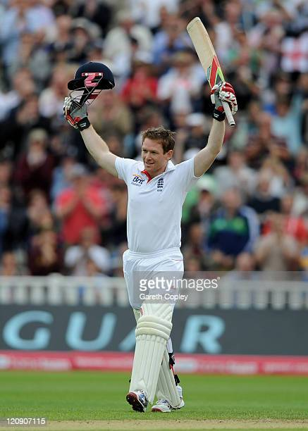 Eoin Morgan of England celebrates reaching his century during day three of the 3rd npower Test at Edgbaston on August 12 2011 in Birmingham England