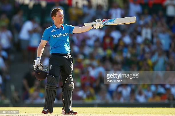 Eoin Morgan of England celebrates scoring a century during the One Day International series match between Australia and England at Sydney Cricket...