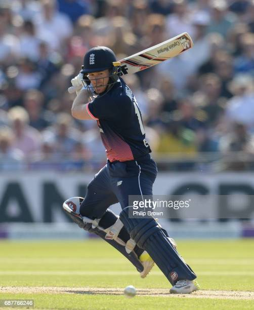 Eoin Morgan of England hits out during the 1st Royal London oneday international cricket match between England and South Africa at Headingley cricket...