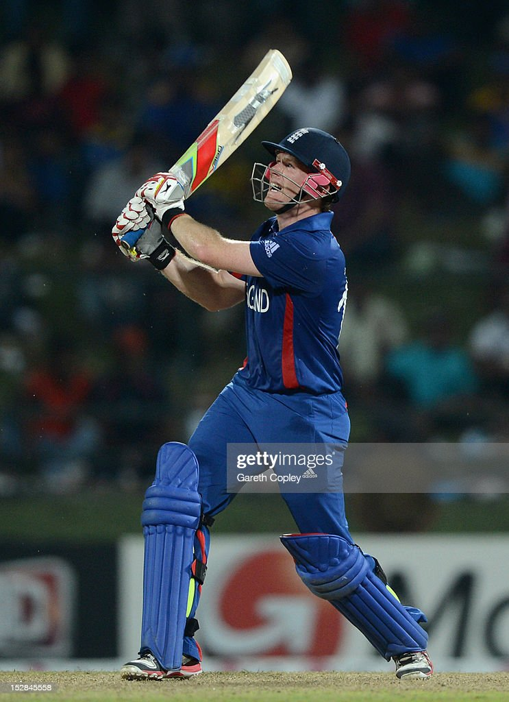 <a gi-track='captionPersonalityLinkClicked' href=/galleries/search?phrase=Eoin+Morgan&family=editorial&specificpeople=689581 ng-click='$event.stopPropagation()'>Eoin Morgan</a> of England hits out for six runs during the ICC World Twenty20 2012 Super Eights Group 1 match between England and the West Indies at Pallekele Cricket Stadium on September 27, 2012 in Kandy, Sri Lanka.
