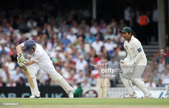 Eoin Morgan of England is bowled by Saeed Ajmal of Pakistan as wicketkeeper Kamran Akmal celebrates during day three of the npower 3rd Test Match...