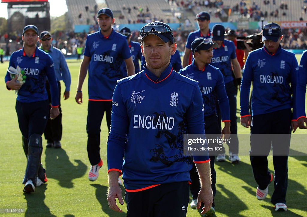 Eoin Morgan of England leads his team off the field after defeating Scotland during the 2015 ICC Cricket World Cup match between England and Scotland...