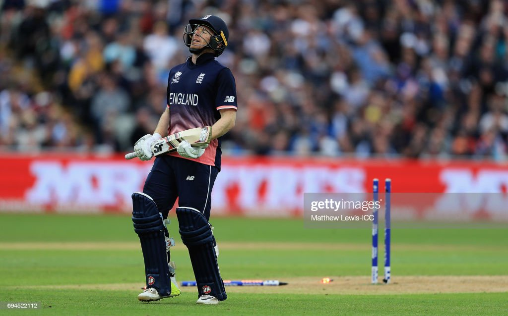 Eoin Morgan of England looks on, after being run out by Adam Zampa of Australia during the ICC Champions Trophy match between England and Australia at Edgbaston on June 10, 2017 in Birmingham, England.