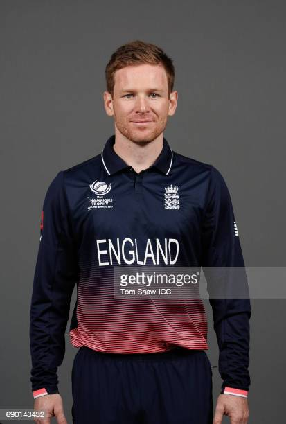 Eoin Morgan of England poses for a portrait during the England Portrait session for the ICC Champions Trophy at Grange City on May 30 2017 in London...