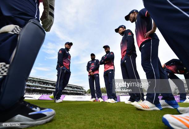 Eoin Morgan of England talks to his team before taking to the field during the Royal London One Day International between England and Ireland at...