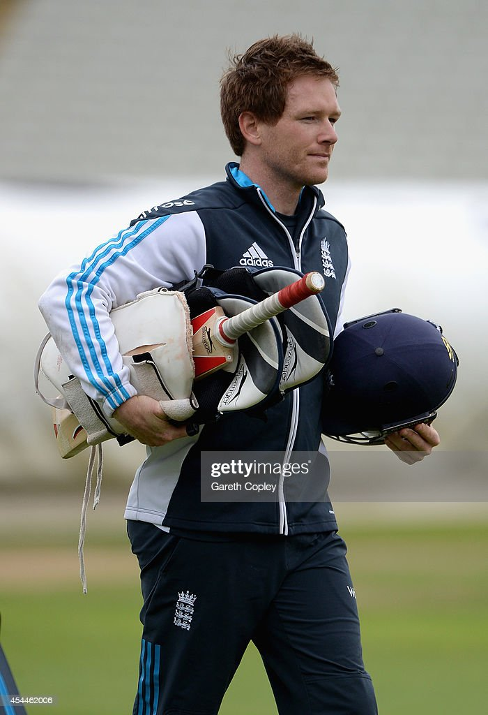 Eoin Morgan of England walks to the nets during a nets session at Edgbaston on September 1 2014 in Birmingham England