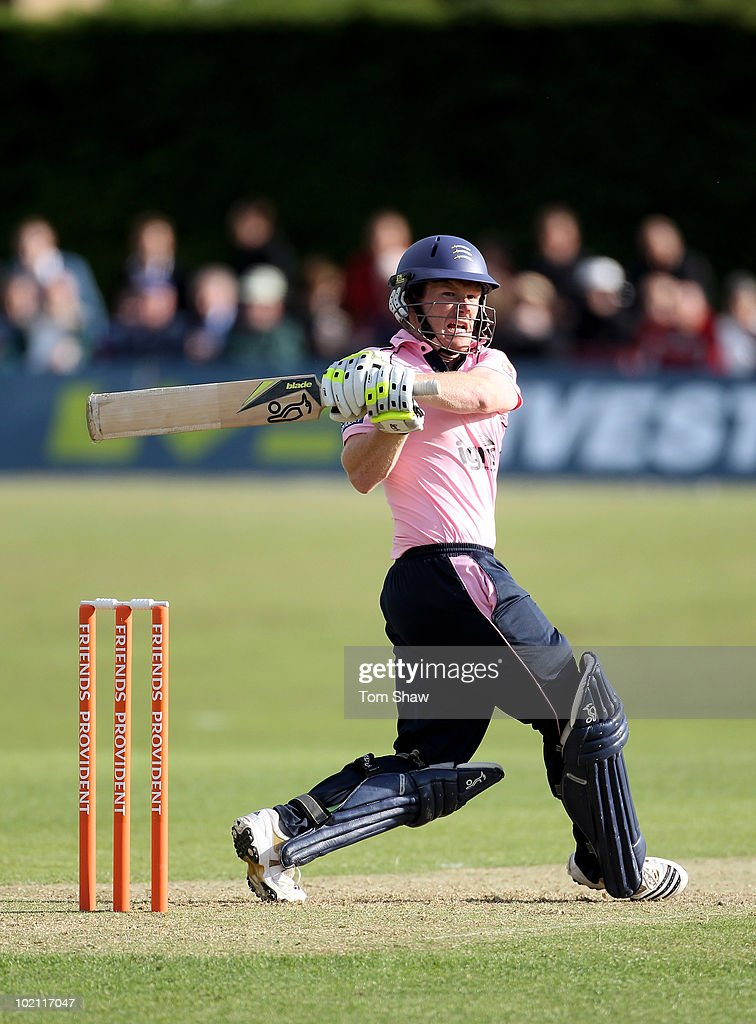Eoin Morgan of Middlesex hits out during the Friends Provident T20 match between Middlesex and Glamorgan at Old Deer Park on June 15, 2010 in Richmond upon Thames, England.