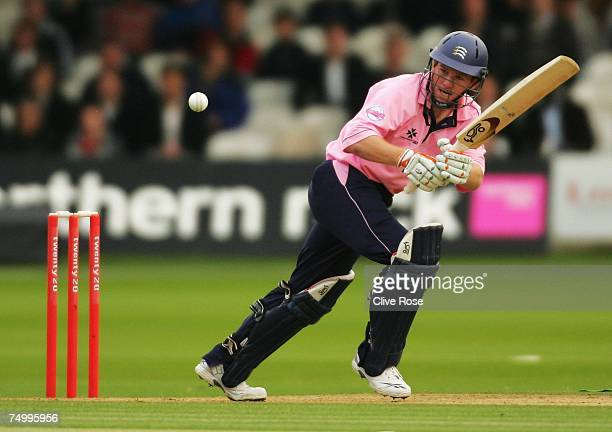 Eoin Morgan of Middlesex in action during the Twenty20 Cup match between Middlesex and Surrey at Lords Cricket Ground on July 3 2006 in London England