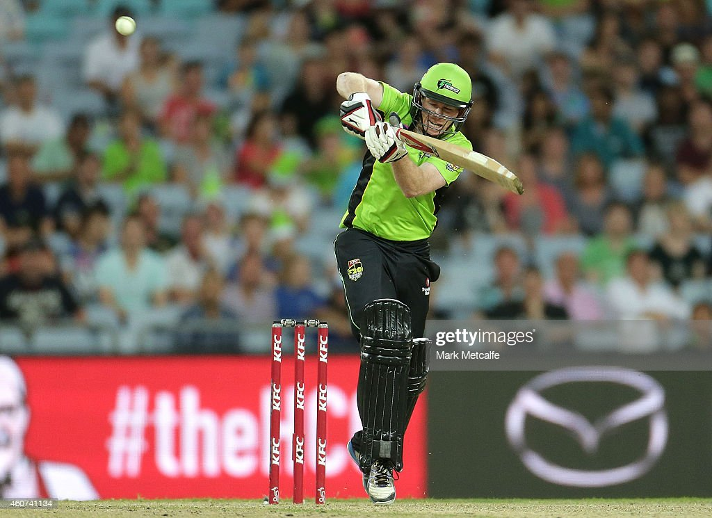 Eoin Morgan of the Thunder bats during the Big Bash League match between the Sydney Thunder and Brisbane Heat at ANZ Stadium on December 21, 2014 in Sydney, Australia.