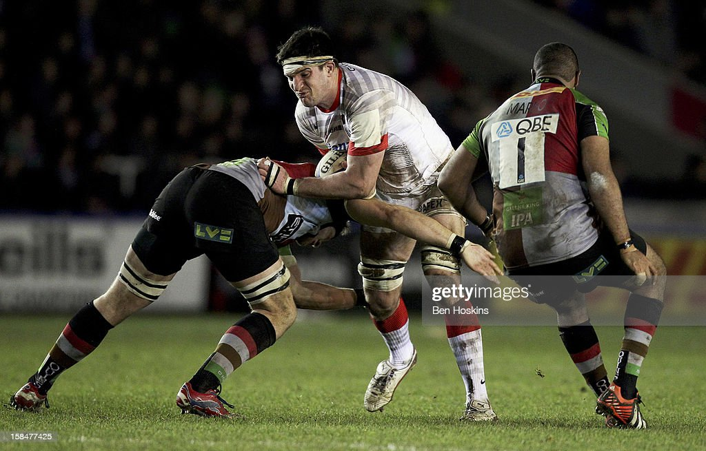 Eoin Sheriff of Saracens is tackled by Sam Twomey of Harlequins (L) during the Aviva 'A' league match between Harlequins and Saracens Storm at the Twickenham Stoop on December 17, 2012 in London, England.