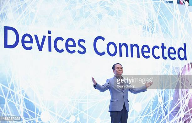 Eom President of Samsung Electronics Europe speaks at the Samsung press conference during a press day at the 2015 IFA consumer electronics and...