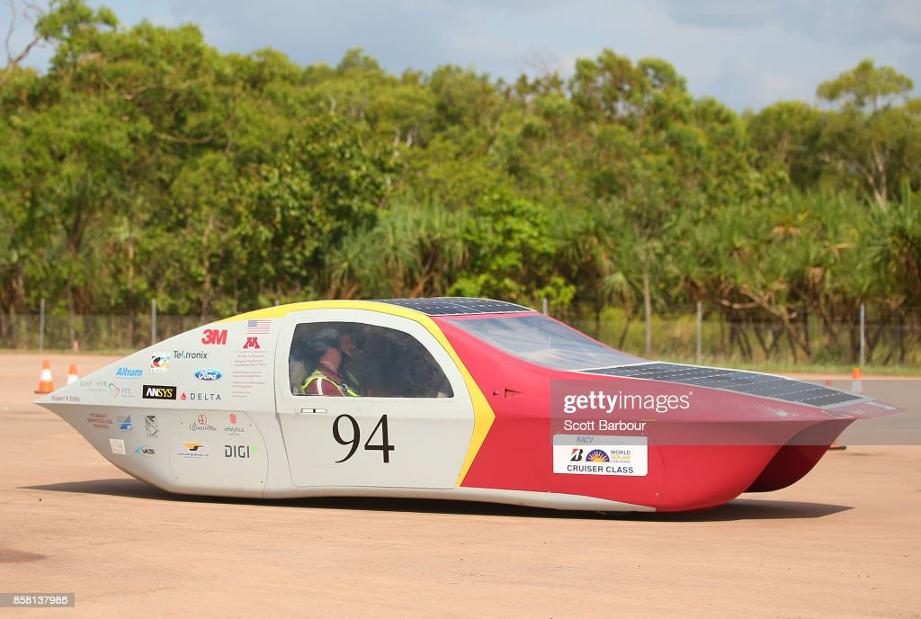 Eos II, the car from the United States University of Minnesota Solar Vehicle Project conducts figure 8 testing at the Hidden Valley Motor Sport Complex before competing in the Cruiser class ahead of the 2017 Bridgestone World Solar Challenge on October 6, 2017 in Darwin, Australia. Teams from across the globe are competing in the 2017 World Solar Challenge - a 3000 km solar-powered vehicle race through the Australian Outback between Darwin and Adelaide. The race attracts teams from around the world, most of which are fielded by universities or corporations although some are fielded by high schools. The race has a 30-year history spanning thirteen races, with the inaugural event taking place in 1987. The race begins on October 8th with the first car expected to cross the finish line on October 11th.