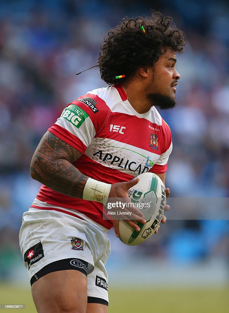 <a gi-track='captionPersonalityLinkClicked' href=/galleries/search?phrase=Epalahame+Lauaki&family=editorial&specificpeople=734601 ng-click='$event.stopPropagation()'>Epalahame Lauaki</a> of Wigan Warriors during the Magic Weekend at Etihad Stadium on May 26, 2013 in Manchester, England.