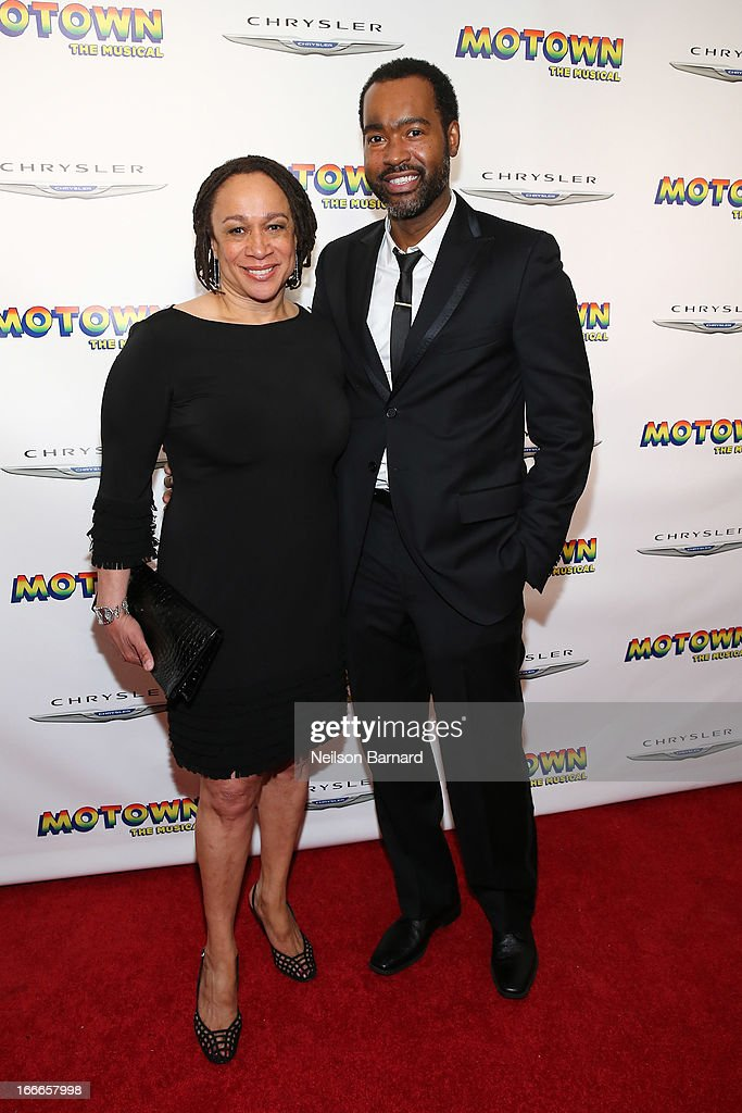 S. Epatha Merkerson (L) and Emilo Esosa attend the after party for the Broadway opening night for 'Motown: The Musical' at Roseland Ballroom on April 14, 2013 in New York City.