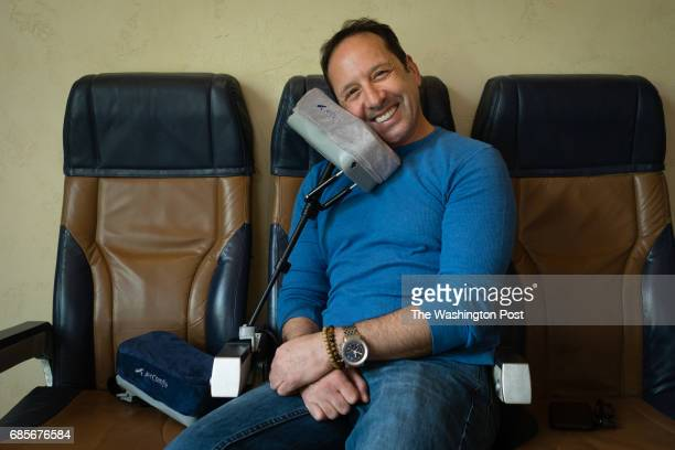 Ephi Zlotnitsky an Israeliborn entrepreneur has invented new airplane pillow called JetComfy He shows the pillow in his airplane themed office in...