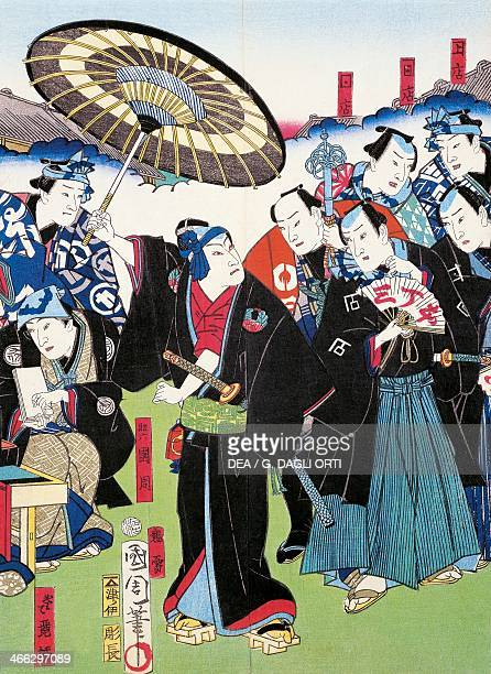 Epic poem and procession of young nobles sewamono 19th century ukiyoe art print from the Kabuki theatre series woodcut Japanese civilisation Edo...
