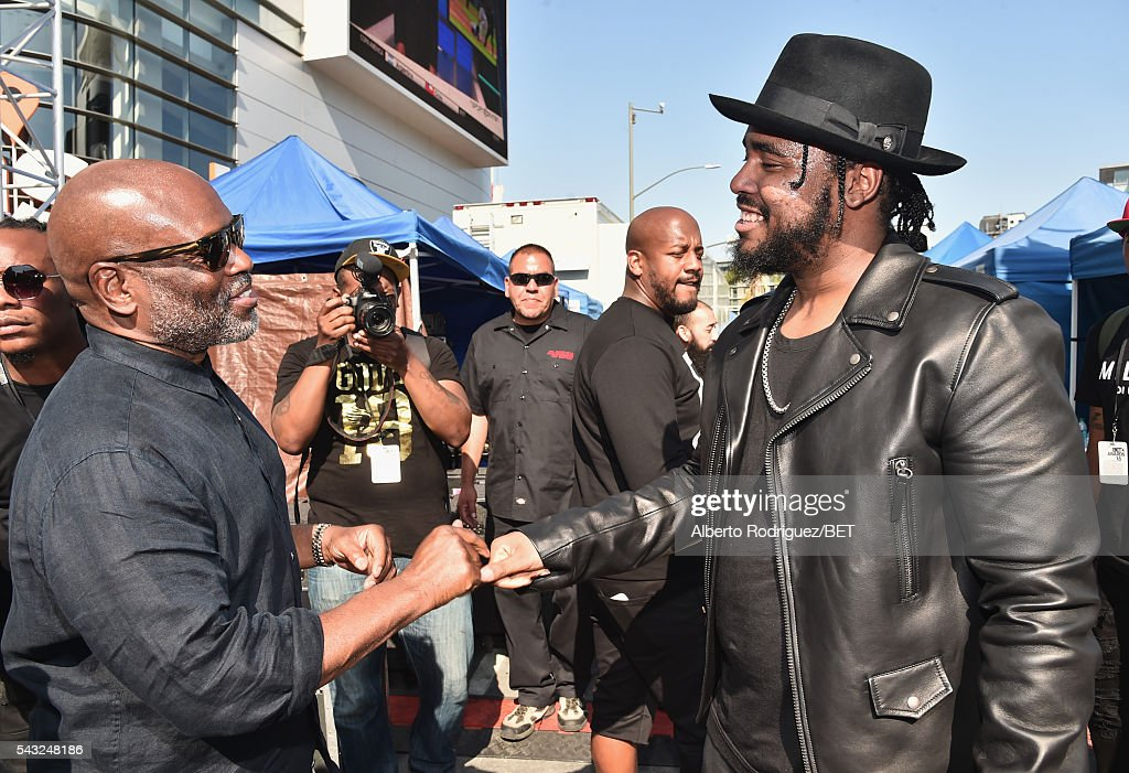 Epic Records CEO <a gi-track='captionPersonalityLinkClicked' href=/galleries/search?phrase=L.A.+Reid&family=editorial&specificpeople=2546947 ng-click='$event.stopPropagation()'>L.A. Reid</a> (L) and rapper Ken Jones attend the 2016 BET Awards at the Microsoft Theater on June 26, 2016 in Los Angeles, California.