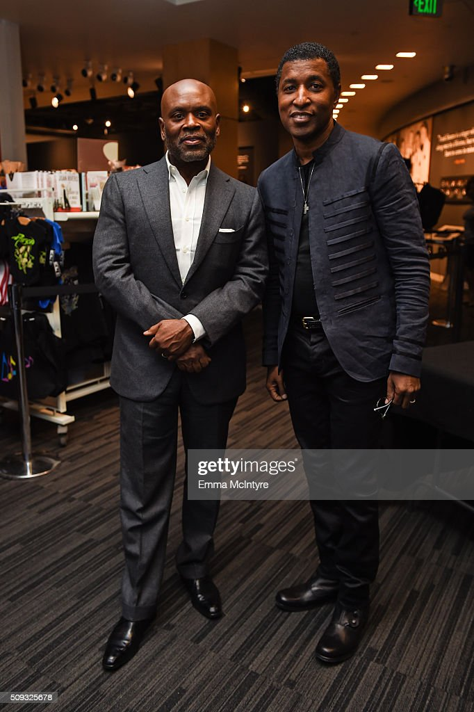Epic Records CEO/Chairman <a gi-track='captionPersonalityLinkClicked' href=/galleries/search?phrase=L.A.+Reid&family=editorial&specificpeople=2546947 ng-click='$event.stopPropagation()'>L.A. Reid</a> and Recording artist/producer Kenneth '<a gi-track='captionPersonalityLinkClicked' href=/galleries/search?phrase=Babyface&family=editorial&specificpeople=227435 ng-click='$event.stopPropagation()'>Babyface</a>' Edmonds attends Icons of the Music Industry at The GRAMMY Museum on February 9, 2016 in Los Angeles, California.
