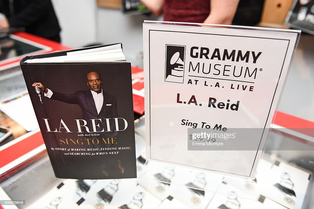 Epic Records CEO/Chairman <a gi-track='captionPersonalityLinkClicked' href=/galleries/search?phrase=L.A.+Reid&family=editorial&specificpeople=2546947 ng-click='$event.stopPropagation()'>L.A. Reid</a>'s book on display at Icons of the Music Industry at The GRAMMY Museum on February 9, 2016 in Los Angeles, California.