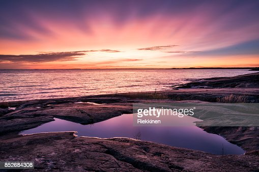Epic sunset with beautiful color and sea at autumn evening in Porkkalanniemi, Finland : Stock Photo