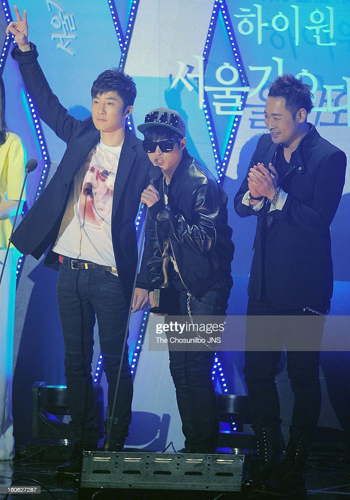 Epik High speak onstage during the 22nd High 1 Seoul Music Awards at Olympic Park on January 31, 2013 in Seoul, South Korea.