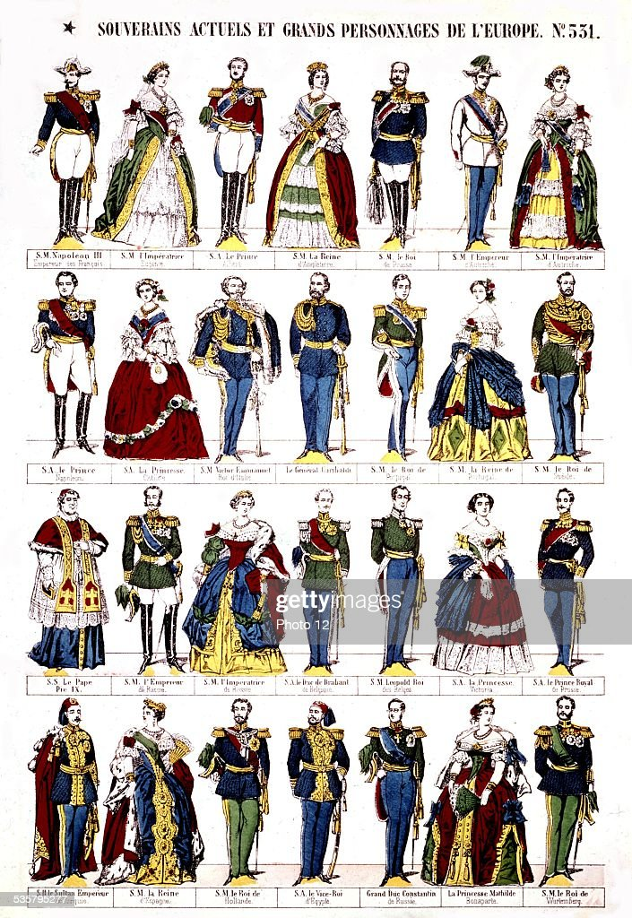 Epinal popular print, Monarchs and characters of the Second Empire, 19th century, France.