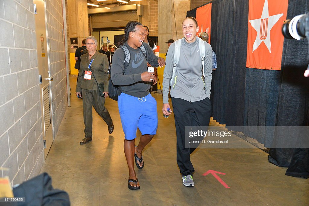 Epiphanny Prince and Diana Taurasi arrive at the arena before the 2013 Boost Mobile WNBA All-Star Game on July 27, 2013 at Mohegan Sun Arena in Uncasville, Connecticut.