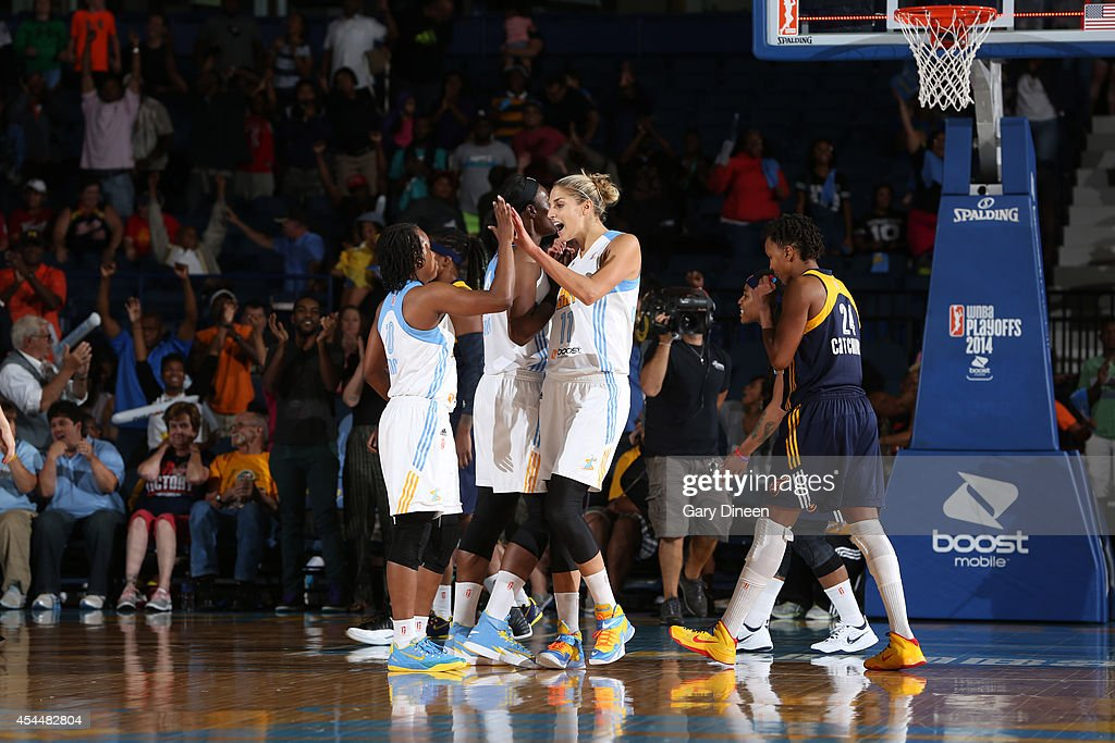 Epiphanny Prince and Elena Delle Donne of the Chicago Sky celebrate their team's overtime victory over Indiana Fever in game two of the WNBA Eastern...