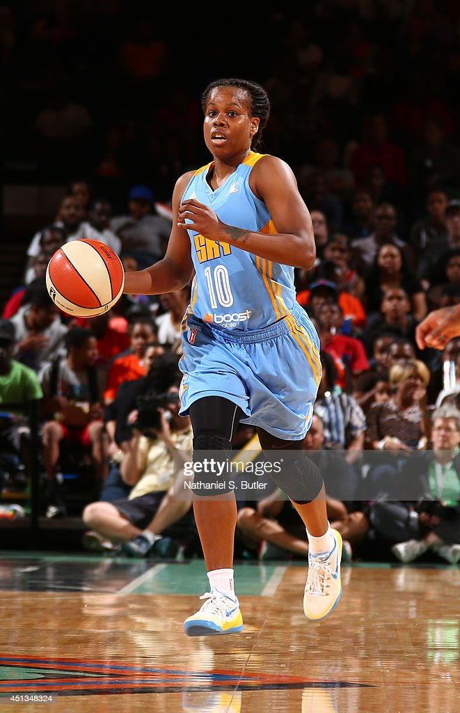 Epiphanny Prince of the Chicago Sky dribbles the ball during a game against the New York Liberty at Madison Square Garden in New York City on June 27...