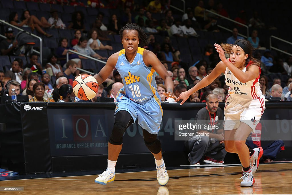 <a gi-track='captionPersonalityLinkClicked' href=/galleries/search?phrase=Epiphanny+Prince&family=editorial&specificpeople=490901 ng-click='$event.stopPropagation()'>Epiphanny Prince</a> #10 of the Chicago Sky drives against Bria Hartley #8 of the Washington Mystics at the Verizon Center on August 13, 2014 in Washington, DC.