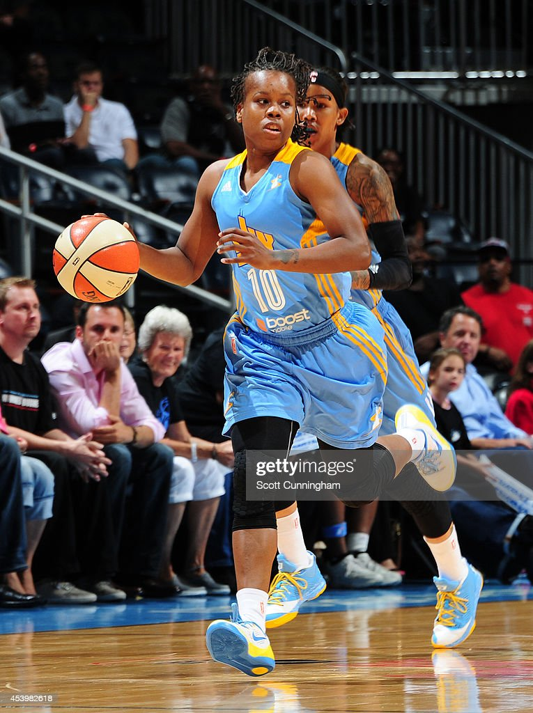 Epiphanny Prince of the Chicago Sky drives against the Atlanta Dream in Game One of the Eastern Conference Semifinals during the 2014 WNBA Playoffs...