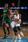 Epiphanny Prince of the Chicago Sky drives to the basket against Crystal Langhorne of the Seattle Storm on June 10 2014 at the Allstate Arena in...