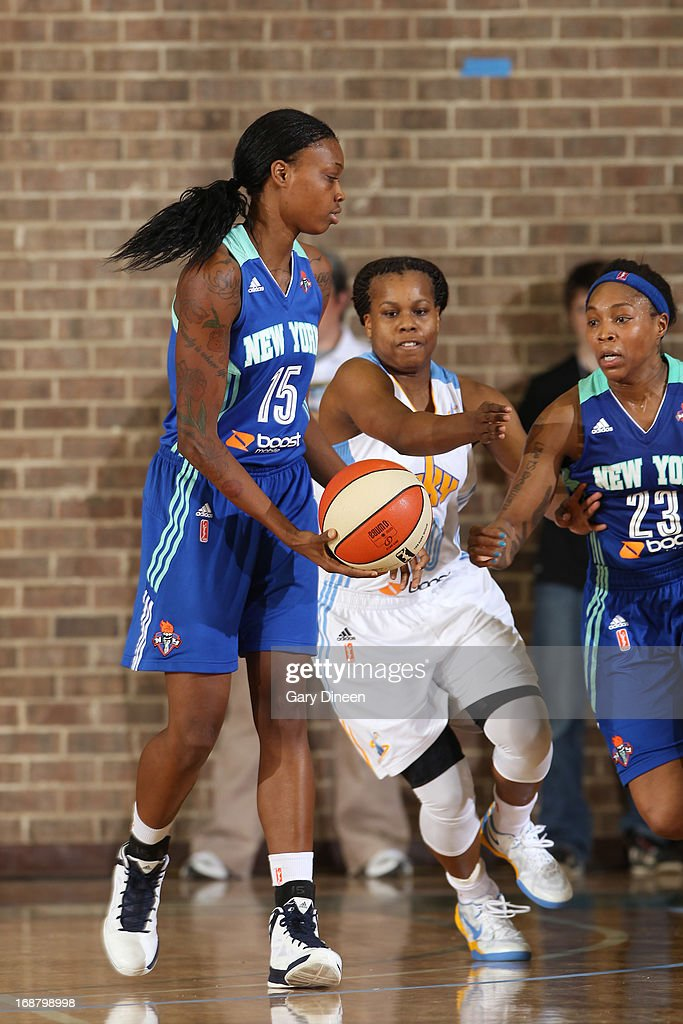 Epiphanny Prince #10 of the Chicago Sky goes for the ball with Toni Young #15 and Cappie Pondexter #23 of the New York Liberty during the pre-season game on May 15, 2013 at the Jacoby D. Dickens Physical Education and Athletic Center on the campus of Chicago State University in Chicago, Illinois.