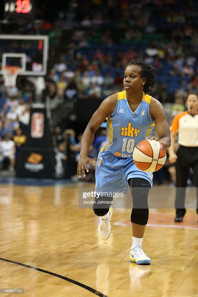 Epiphanny Prince of the Chicago Sky handles the ball against the Minnesota Lynx during the WNBA game on August 7 2014 at Target Center in Minneapolis...