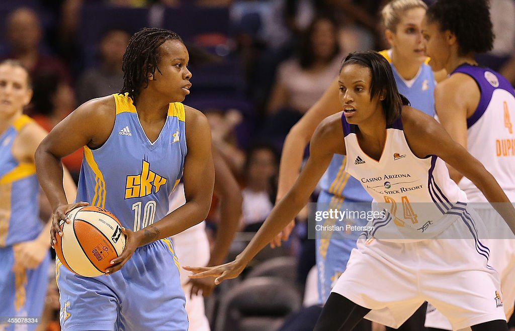 Epiphanny Prince of the Chicago Sky looks to pass the ball guarded by DeWanna Bonner of the Phoenix Mercury during the first half of game two of the...
