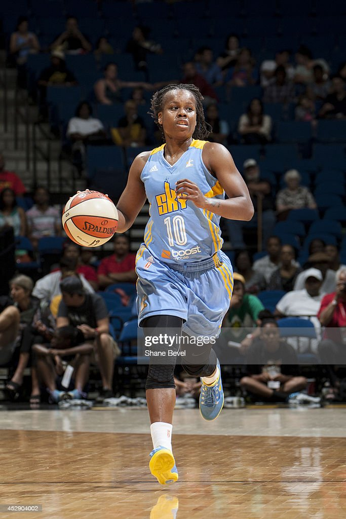 Epiphanny Prince of the Chicago Sky moves the ball upcourt against the Tulsa Shock on July 27 2014 at the BOK Center in Tulsa Oklahoma NOTE TO USER...