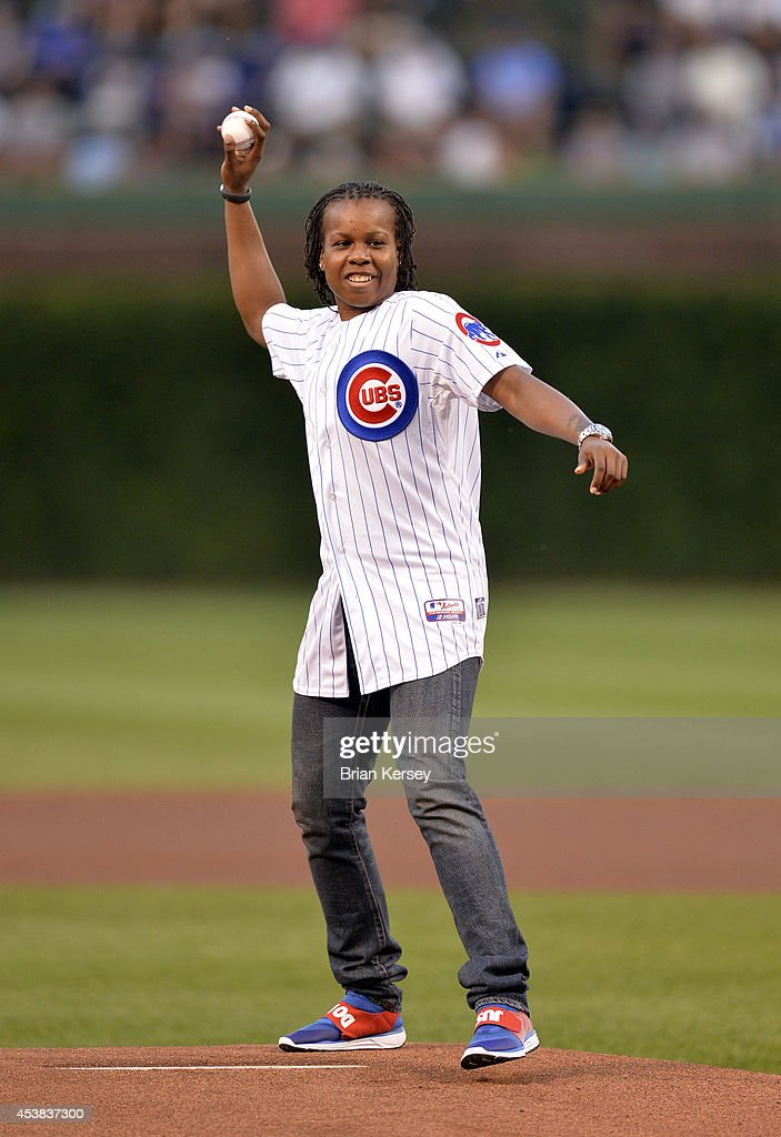Epiphanny Prince of the Chicago Sky of the WNBA throws out a ceremonial first pitch before the Chicago Cubs game against the San Francisco Giants at...
