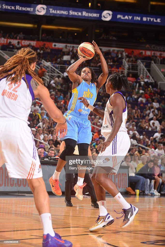 Epiphanny Prince of the Chicago Sky shoots the ball against the Phoenix Mercury in Game 2 of the 2014 WNBA Finals on September 9 2014 at US Airways...